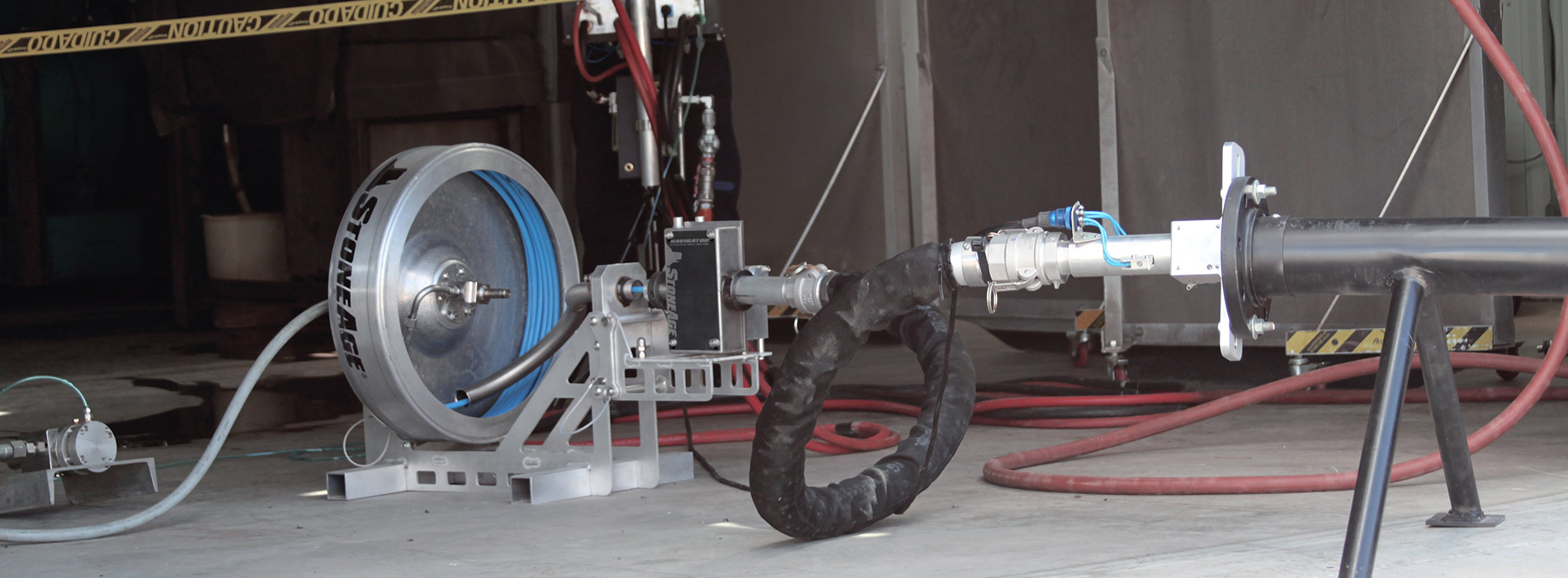 Navigator rotary hose device for pipe cleaning